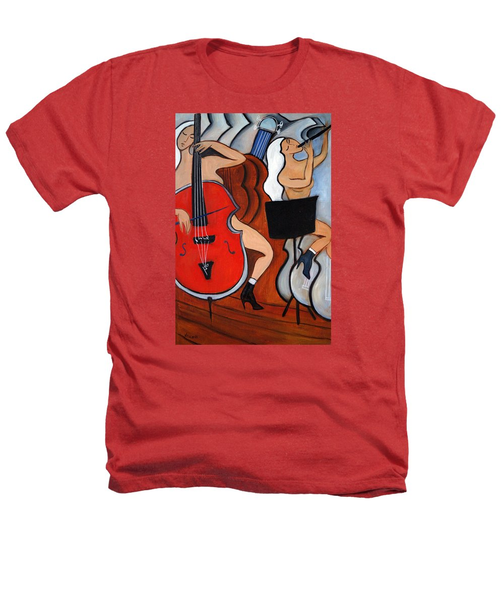 Cubic Abstract Heathers T-Shirt featuring the painting Red Cello 2 by Valerie Vescovi