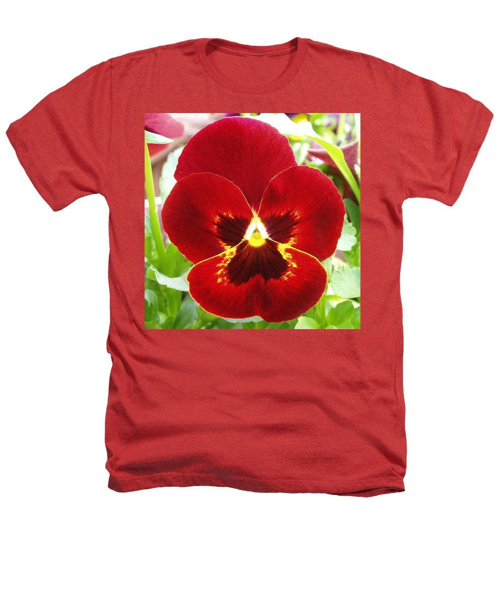 Red Heathers T-Shirt featuring the photograph Red Pansy by Nancy Mueller