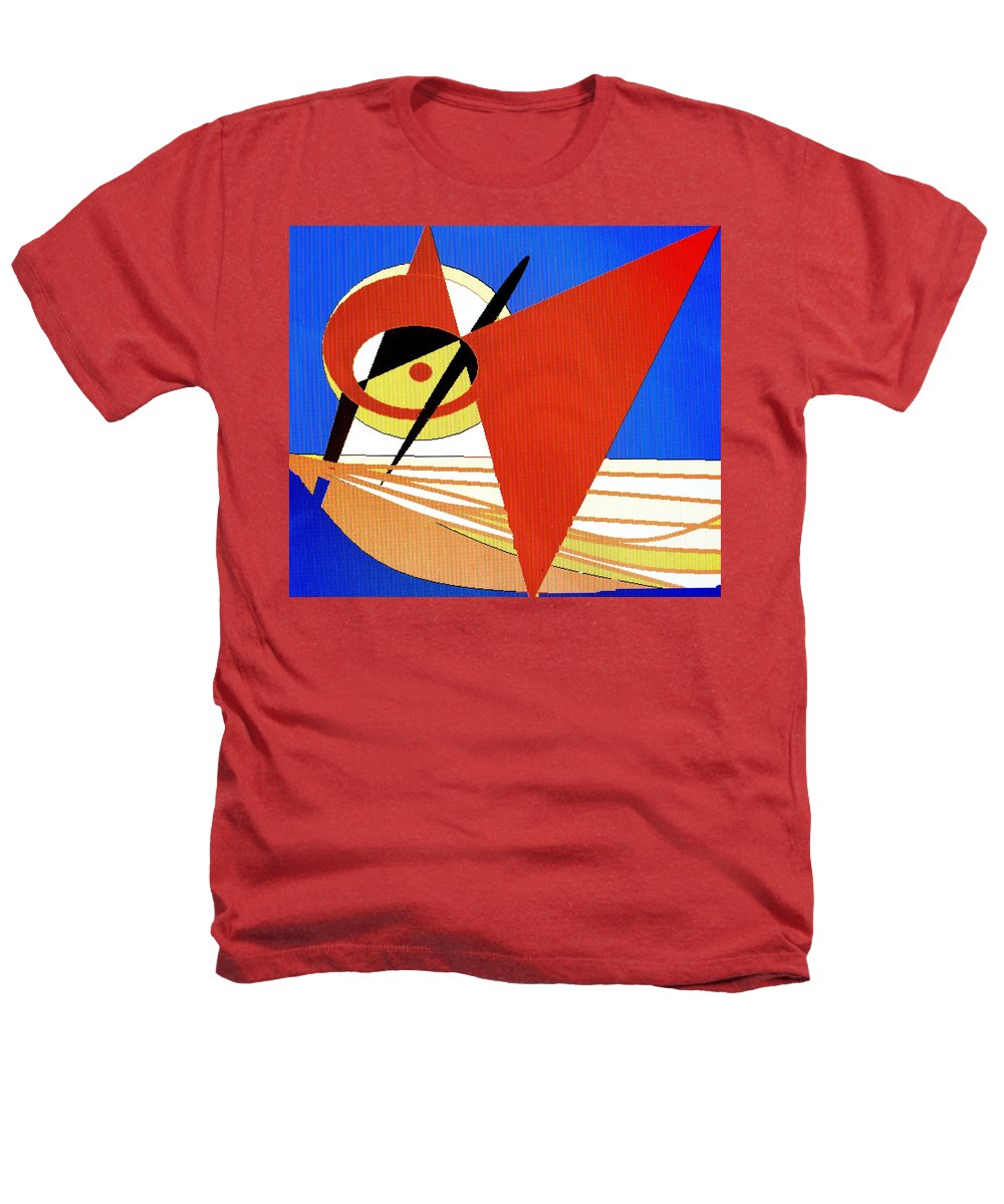 Boat Heathers T-Shirt featuring the digital art Red Sails In The Sunset by Ian MacDonald