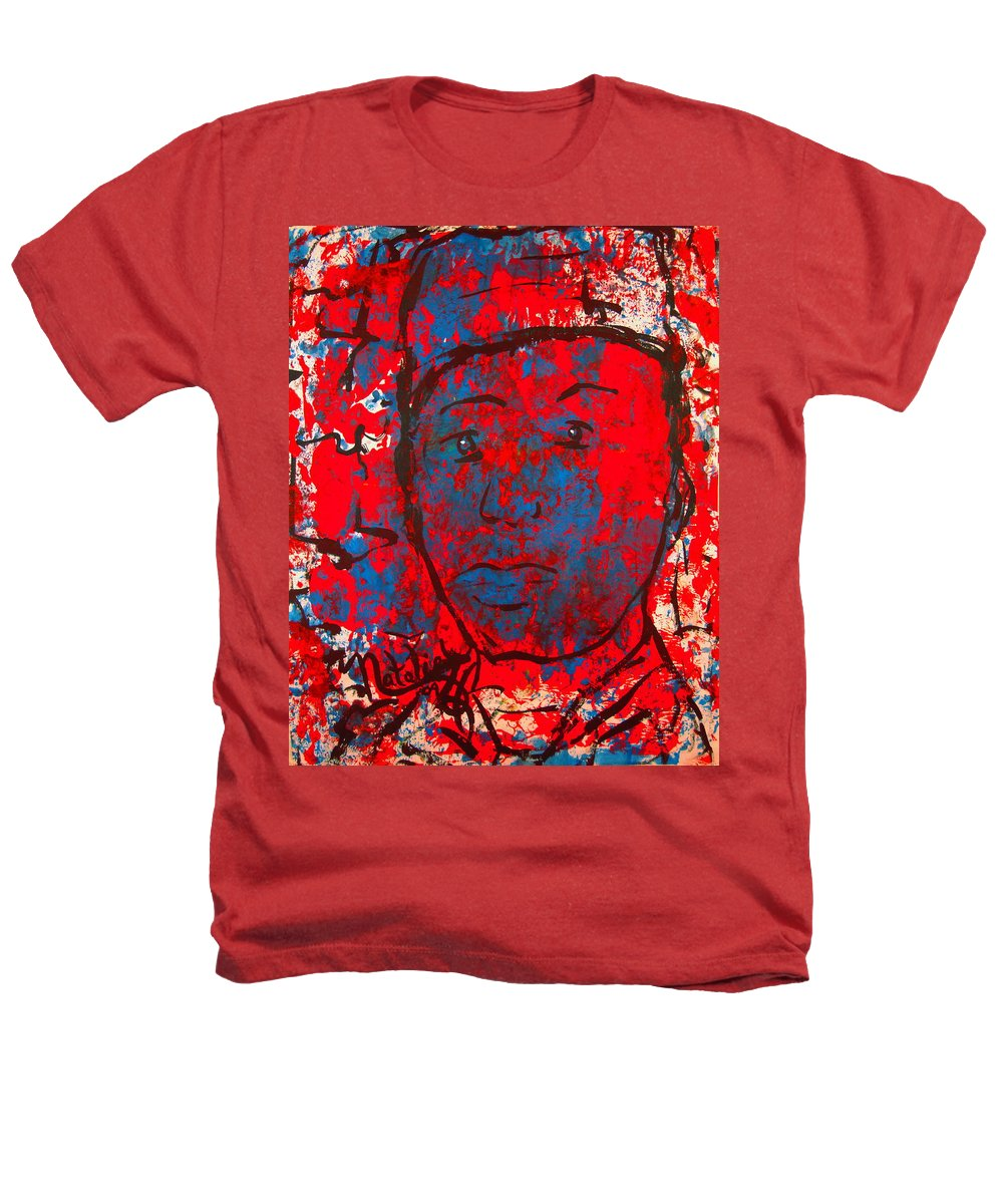 Man Heathers T-Shirt featuring the painting Red White And Blue by Natalie Holland