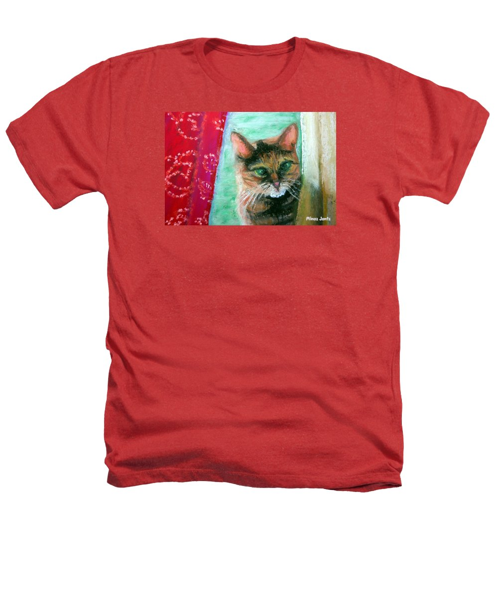 Cat Heathers T-Shirt featuring the painting Rosy In Color by Minaz Jantz