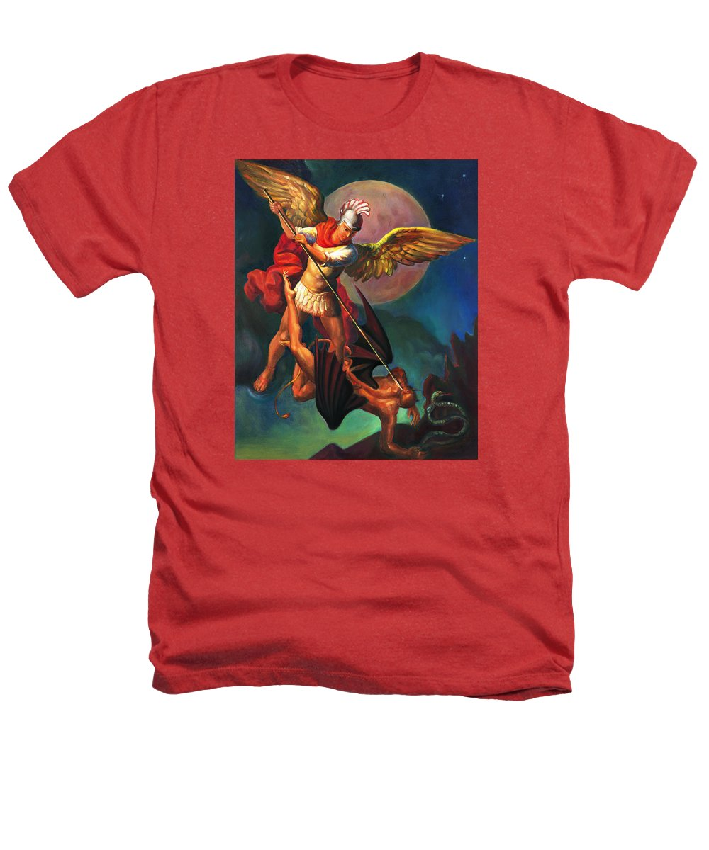 Bible Heathers T-Shirt featuring the painting Saint Michael The Warrior Archangel by Svitozar Nenyuk