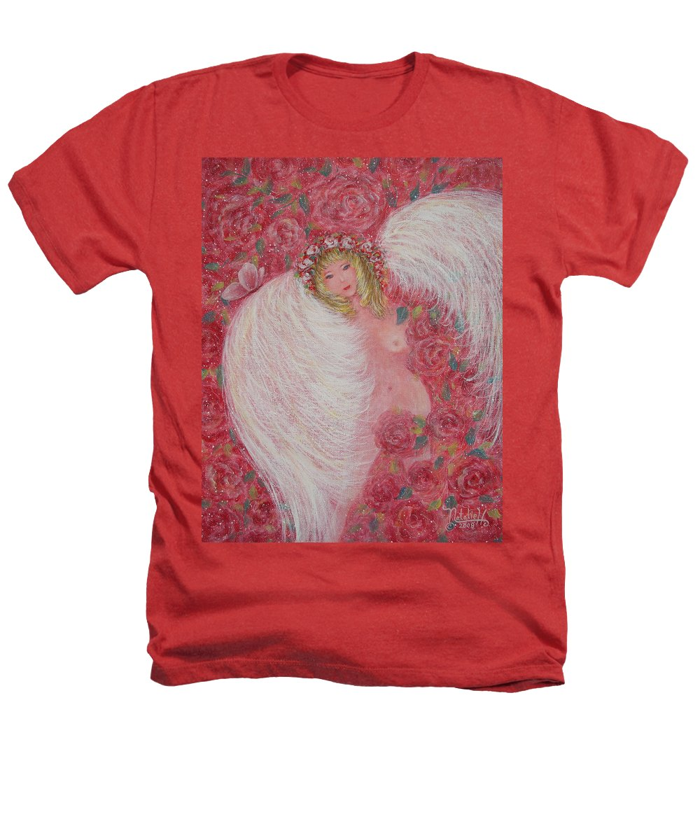 Angel Heathers T-Shirt featuring the painting Secret Garden Angel 6 by Natalie Holland