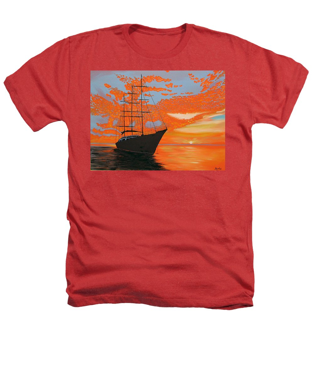Seascape Heathers T-Shirt featuring the painting Sittin' On The Bay by Marco Morales