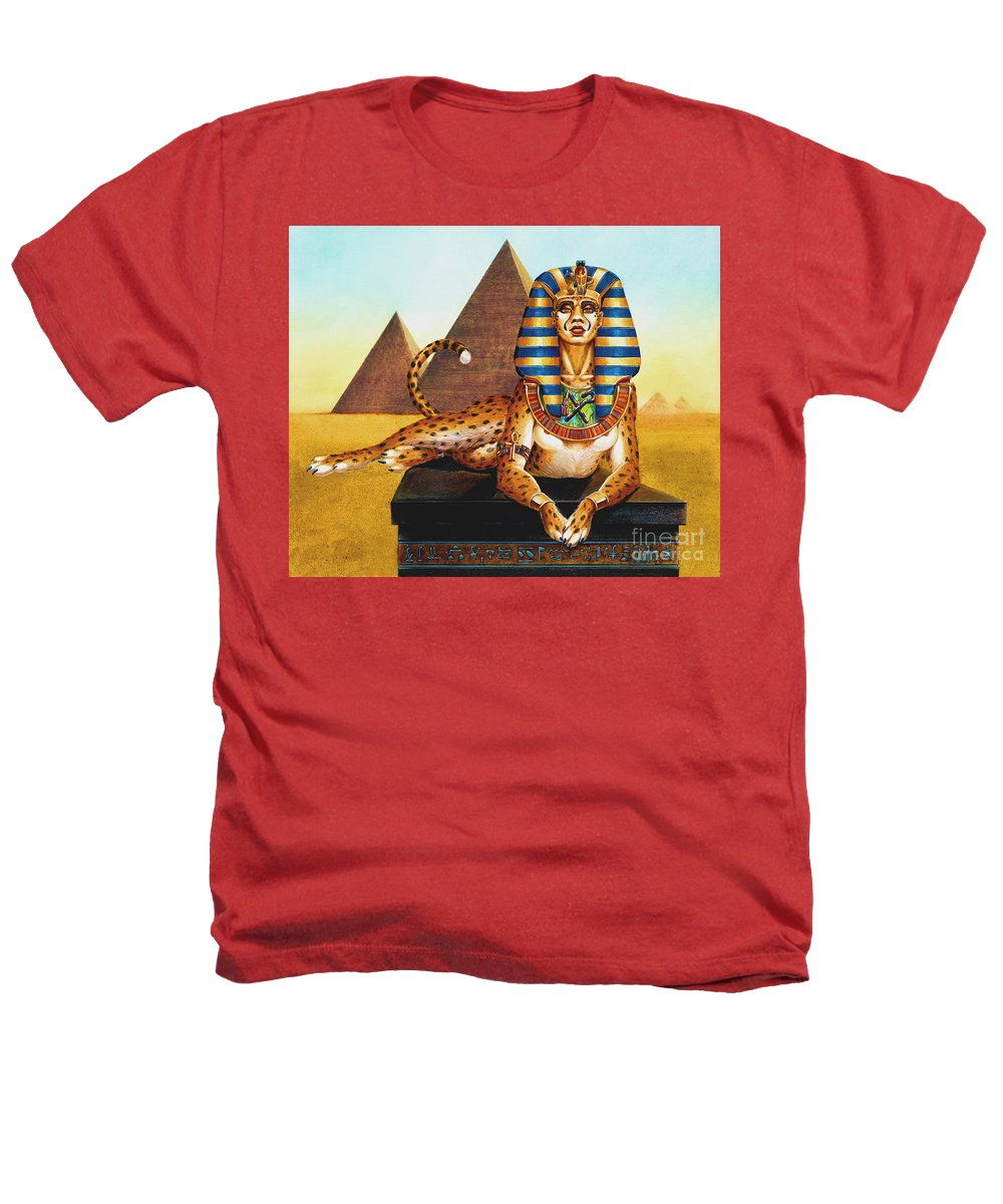 Cat Heathers T-Shirt featuring the painting Sphinx On Plinth by Melissa A Benson