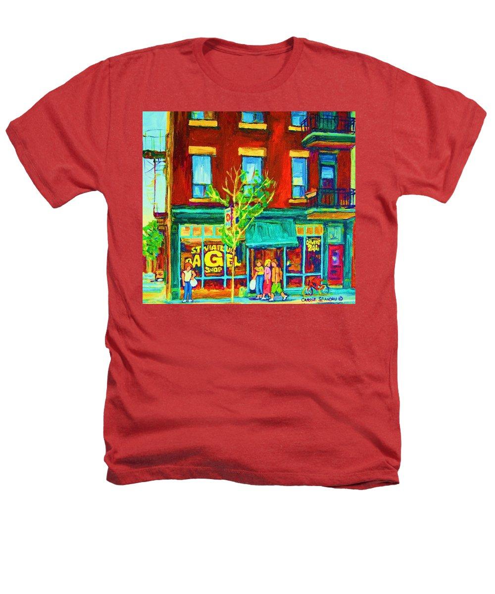 St. Viateur Bagel Shop Heathers T-Shirt featuring the painting St Viateur Bagel Shop by Carole Spandau