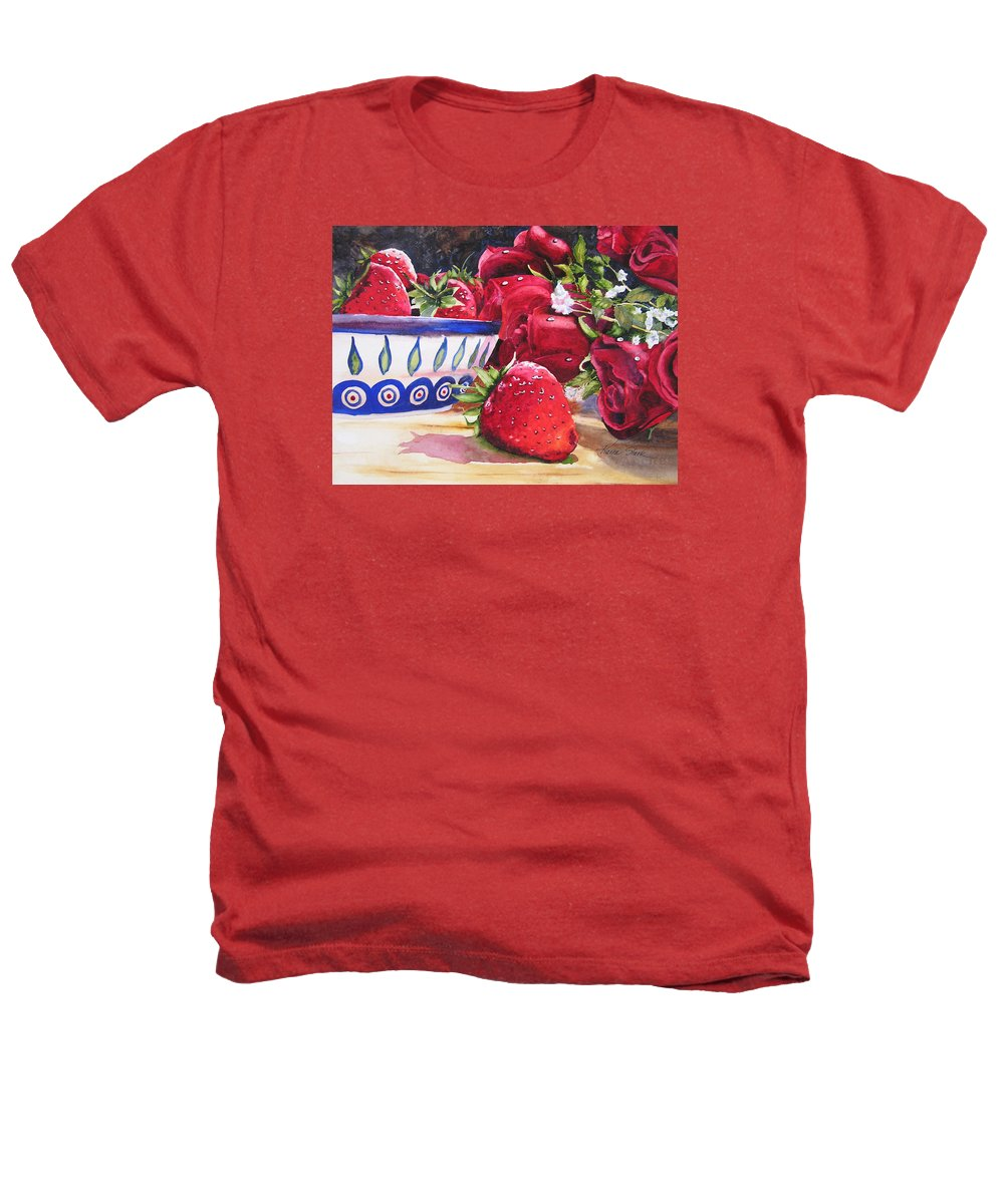 Strawberries Heathers T-Shirt featuring the painting Strawberries And Roses by Karen Stark