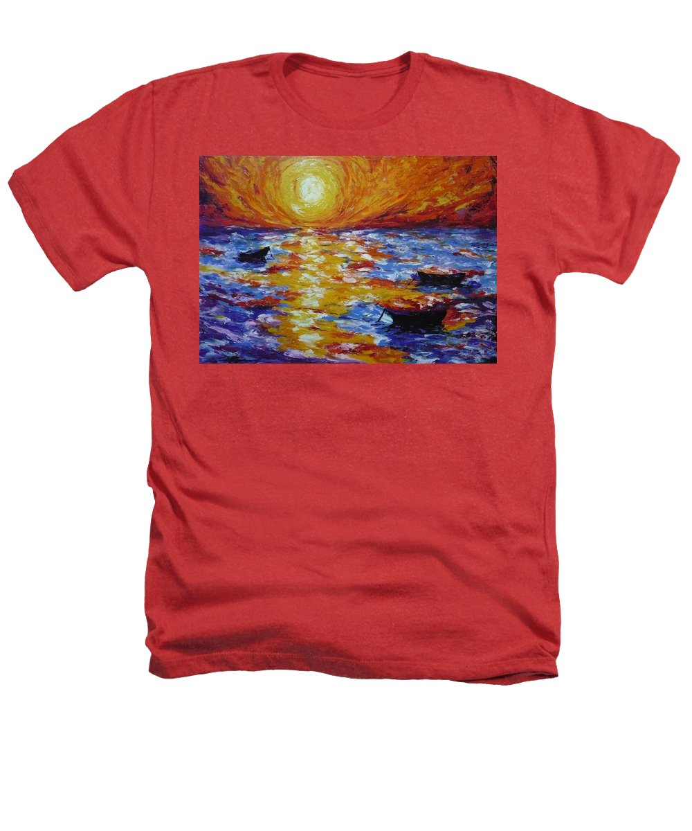 Landscape Heathers T-Shirt featuring the painting Sunset With Three Boats by Ericka Herazo
