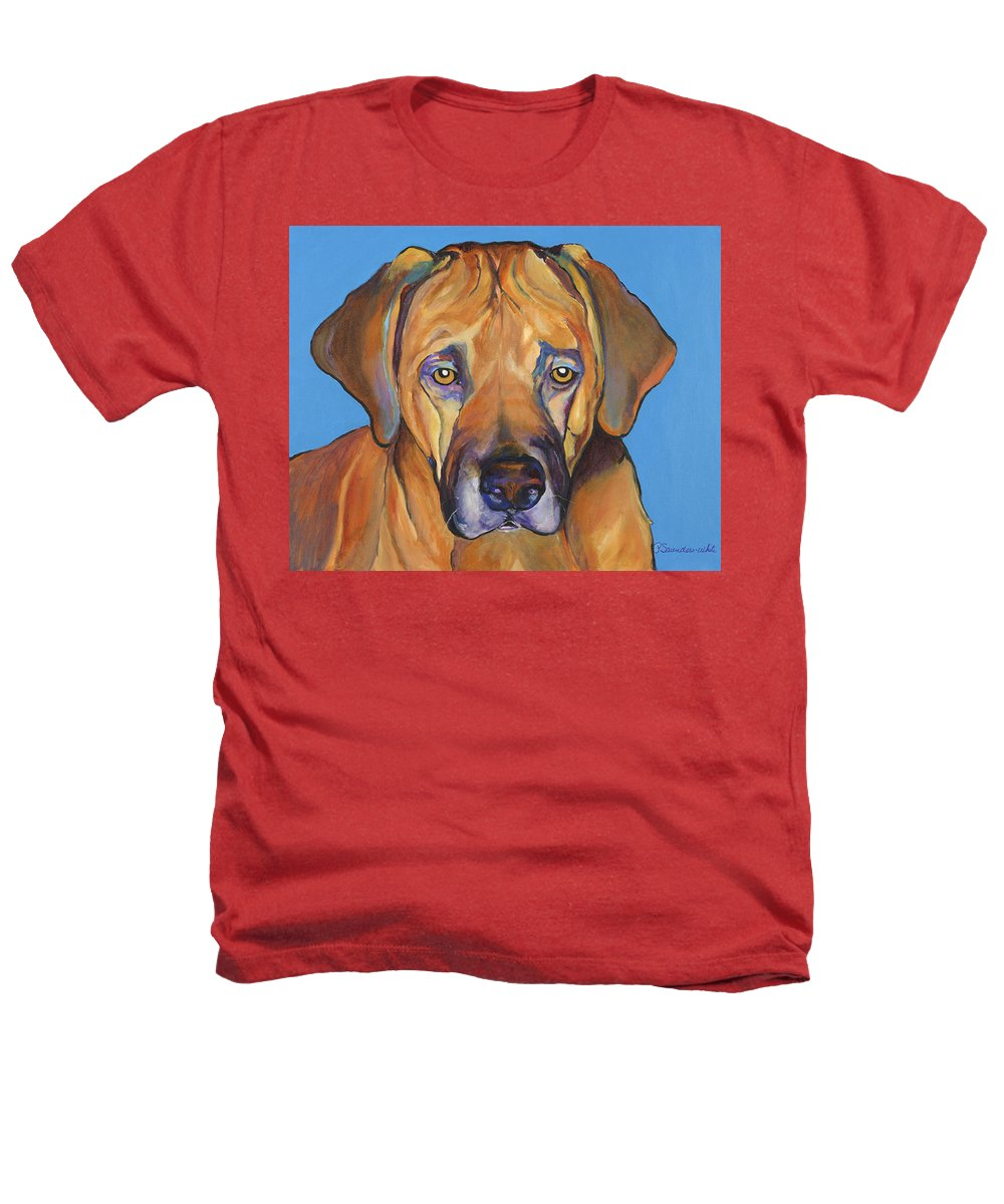 Rhodesian Ridgeback Dog Ridgeback African Colorful Orange Gold Yellow Red Heathers T-Shirt featuring the painting Talen by Pat Saunders-White