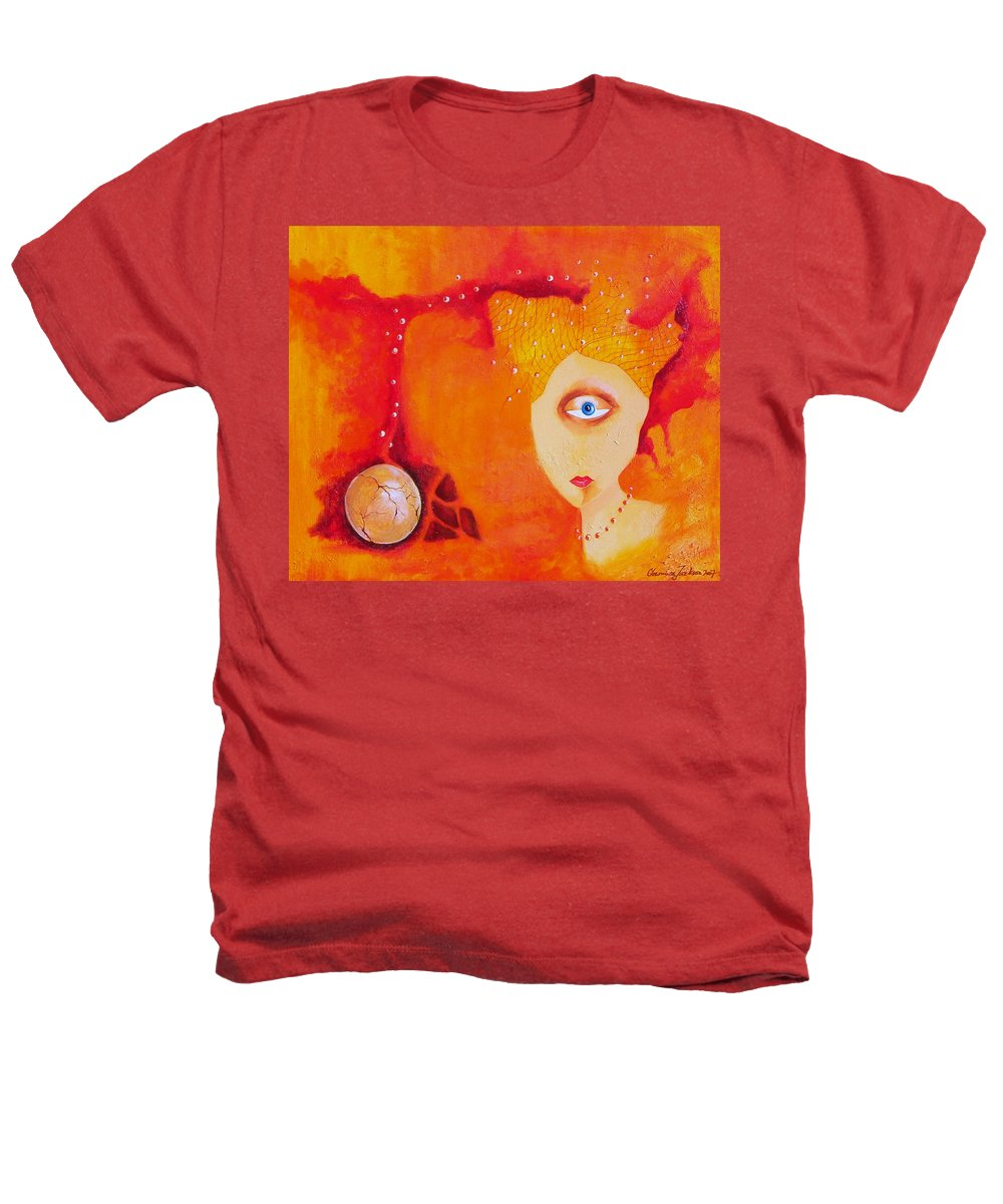 Tangerine Orange Eyes Woman Pearls Thoughts Life Egg Heathers T-Shirt featuring the painting Tangerine Dream by Veronica Jackson