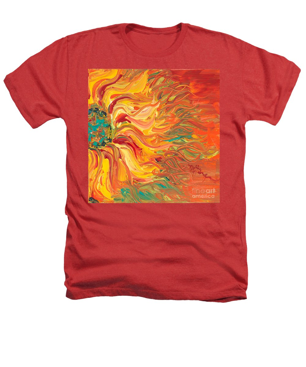 Sunjflower Heathers T-Shirt featuring the painting Textured Fire Sunflower by Nadine Rippelmeyer