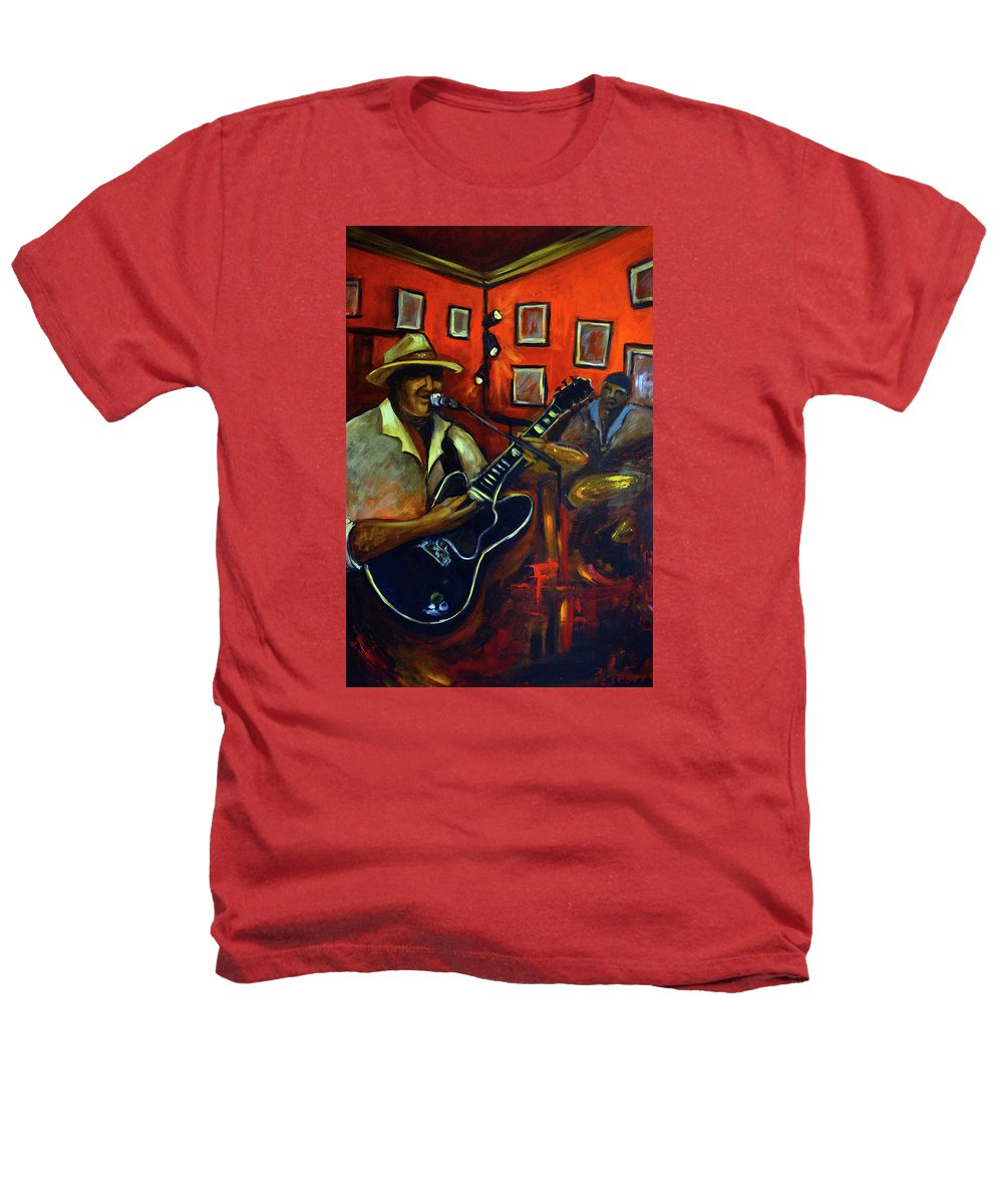 Blues Heathers T-Shirt featuring the painting The Back Room by Valerie Vescovi