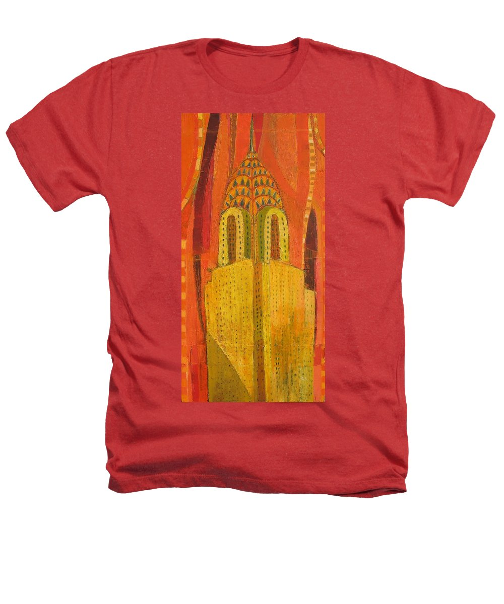 Abstract Cityscape Heathers T-Shirt featuring the painting The Chrysler In Red by Habib Ayat