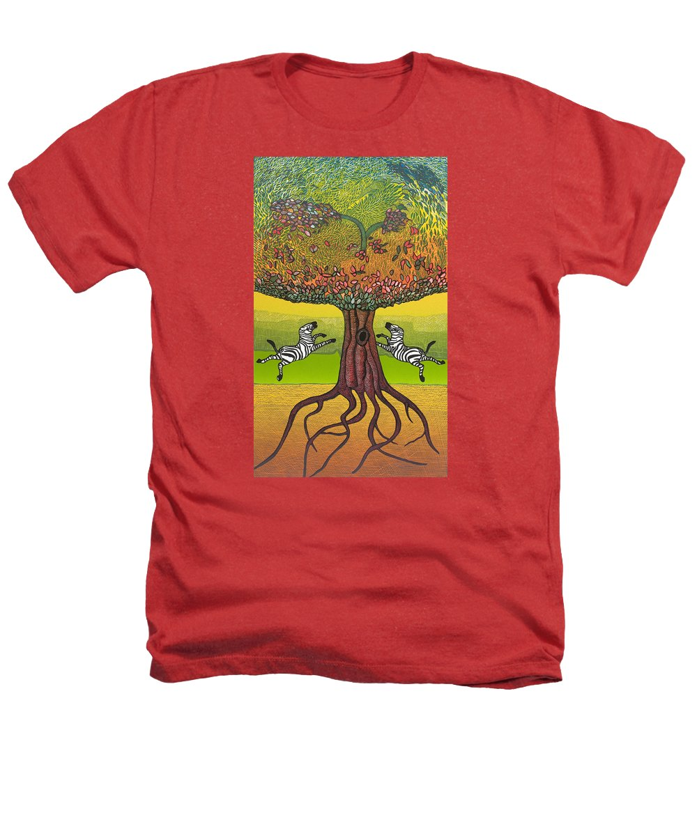 Landscape Heathers T-Shirt featuring the mixed media The Life-giving Tree. by Jarle Rosseland