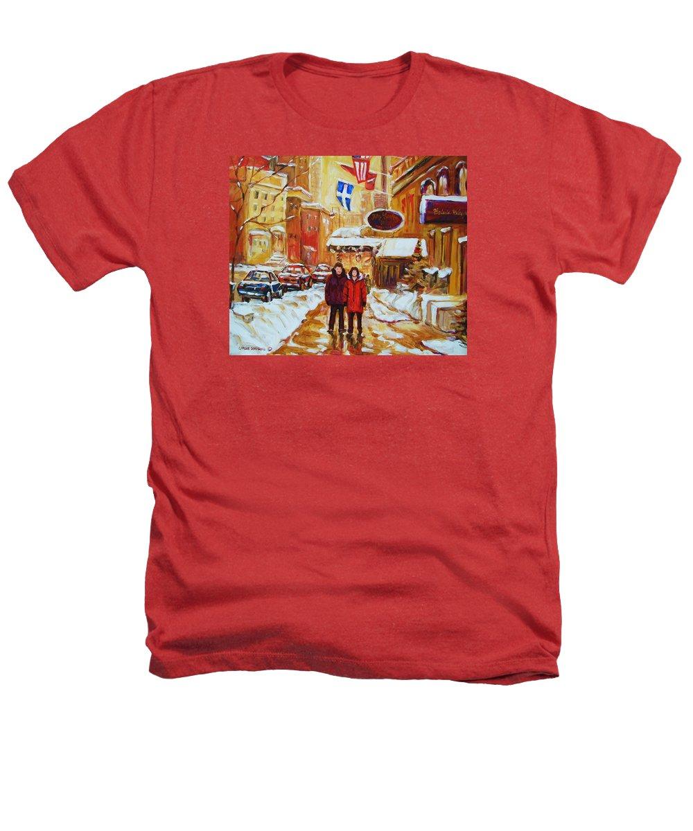 Streetscene Heathers T-Shirt featuring the painting The Ritz Carlton by Carole Spandau