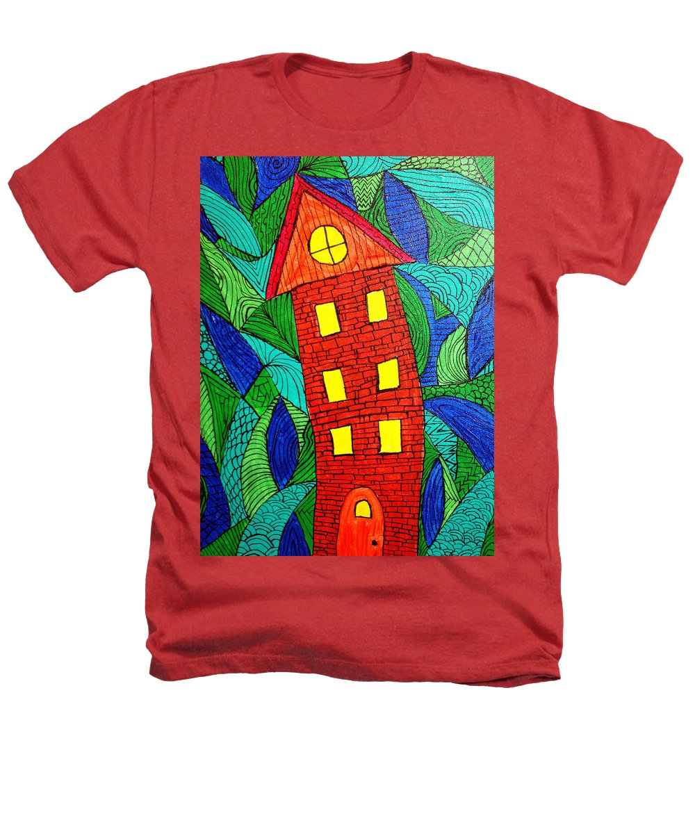 Geometric Patterns Heathers T-Shirt featuring the painting There Was A Crooked House by Wayne Potrafka