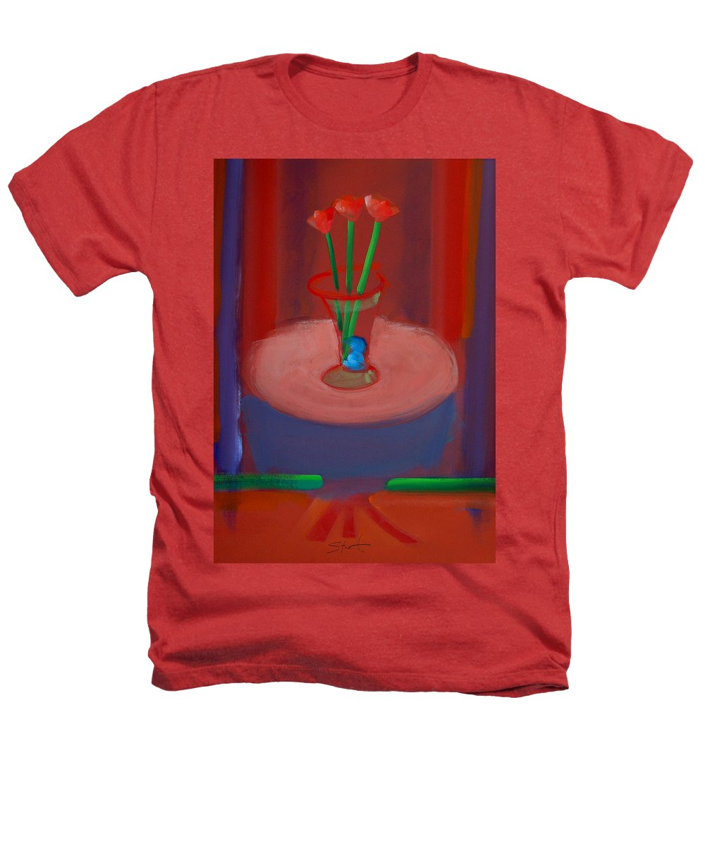 Poppies Heathers T-Shirt featuring the painting Three Poppies In A Vase by Charles Stuart