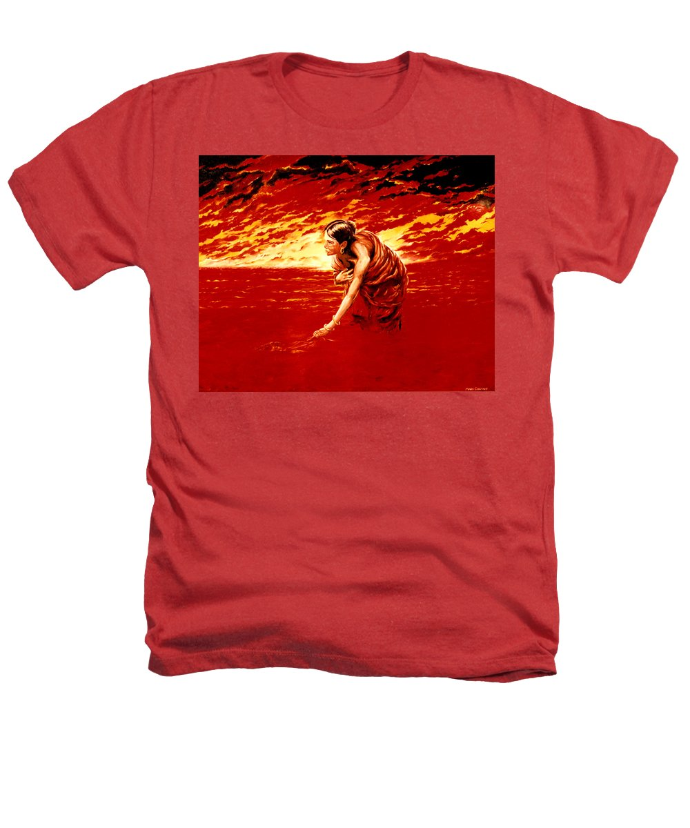 Seascape Heathers T-Shirt featuring the painting Tsunami by Mark Cawood