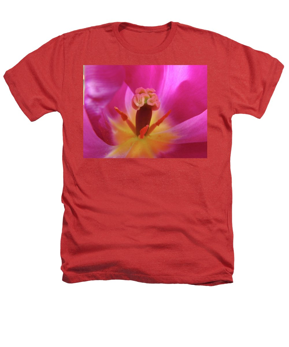 �tulips Artwork� Heathers T-Shirt featuring the photograph Tulips Artwork Pink Purple Tuli Flower Art Prints Spring Garden Nature by Baslee Troutman