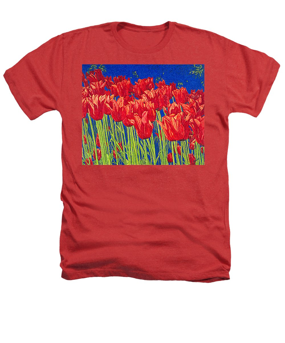 Tulips Heathers T-Shirt featuring the drawing Tulips Tulip Flowers Fine Art Print Giclee High Quality Exceptional Color Garden Nature Botanical by Baslee Troutman