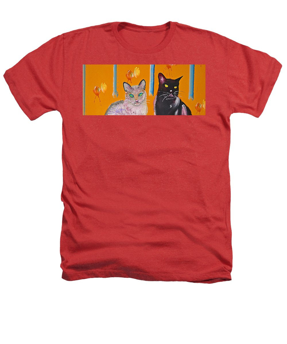 Cat Heathers T-Shirt featuring the painting Two Superior Cats With Wild Wallpaper by Charles Stuart
