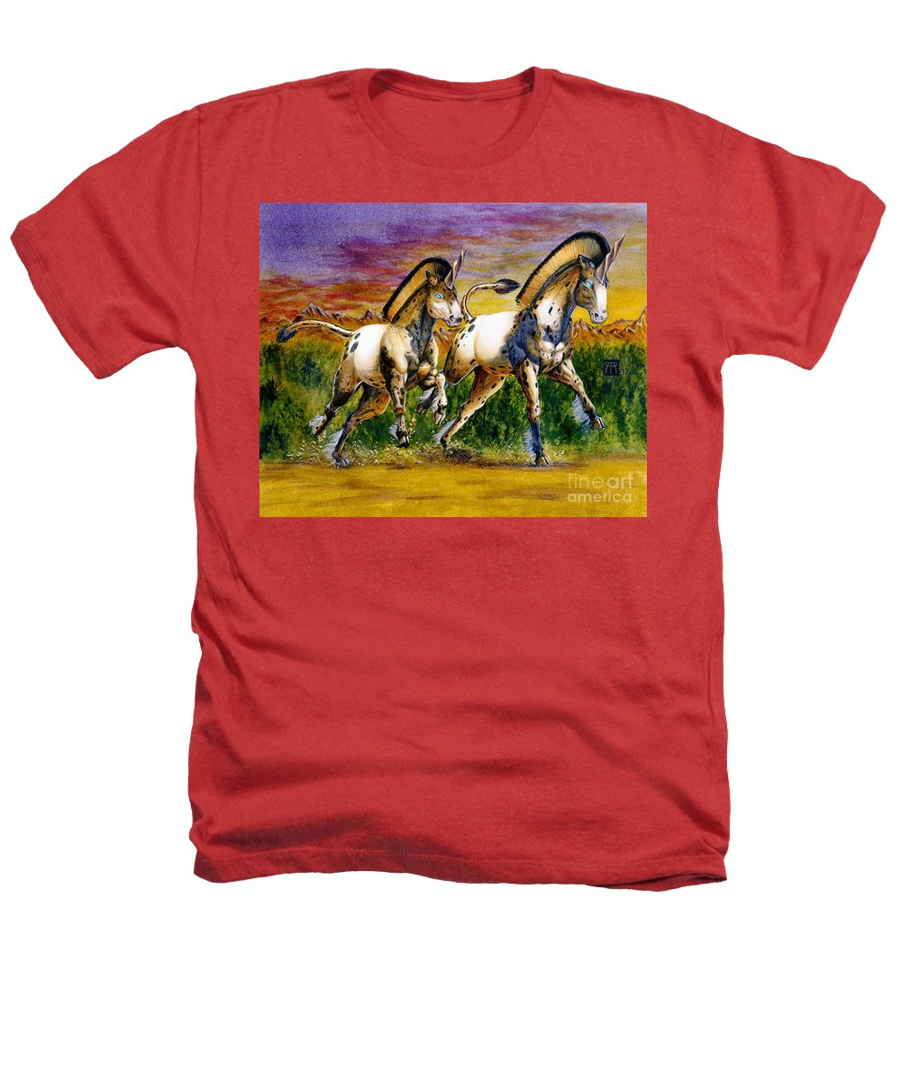 Artwork Heathers T-Shirt featuring the painting Unicorns In Sunset by Melissa A Benson