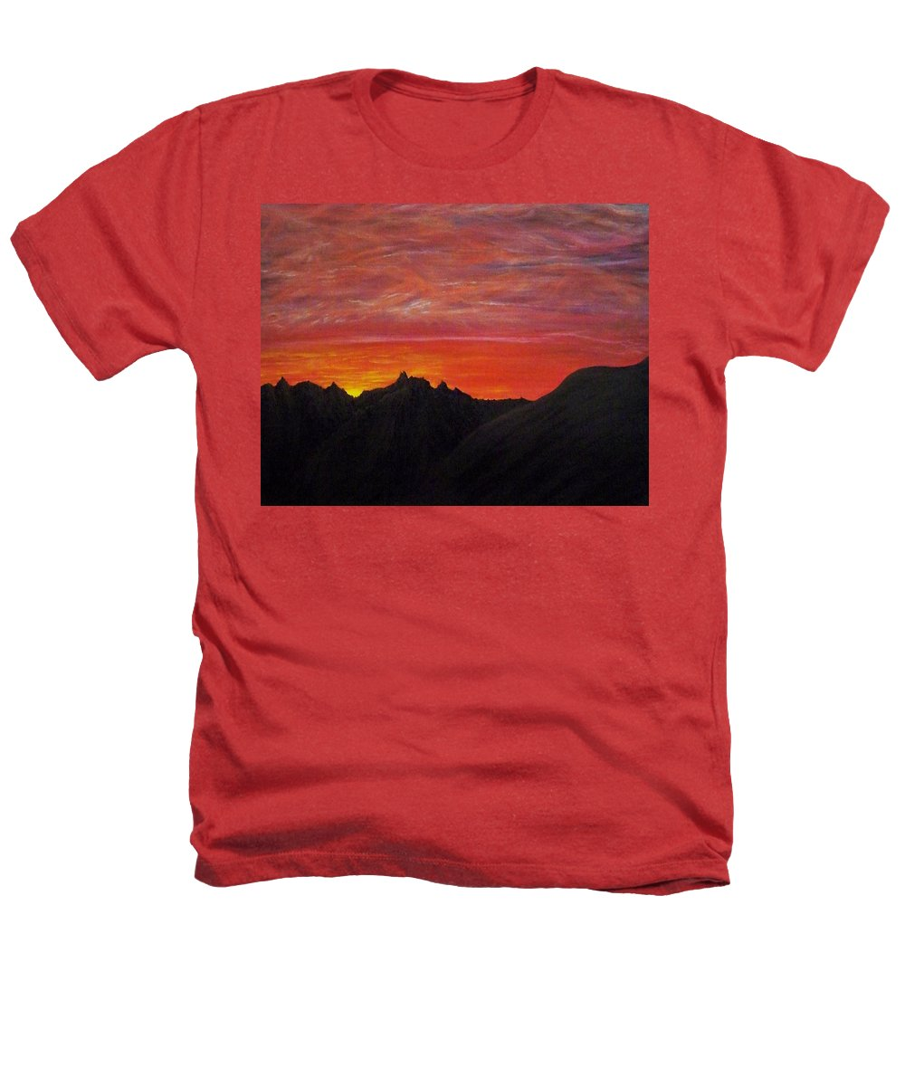 Sunset Heathers T-Shirt featuring the painting Utah Sunset by Michael Cuozzo