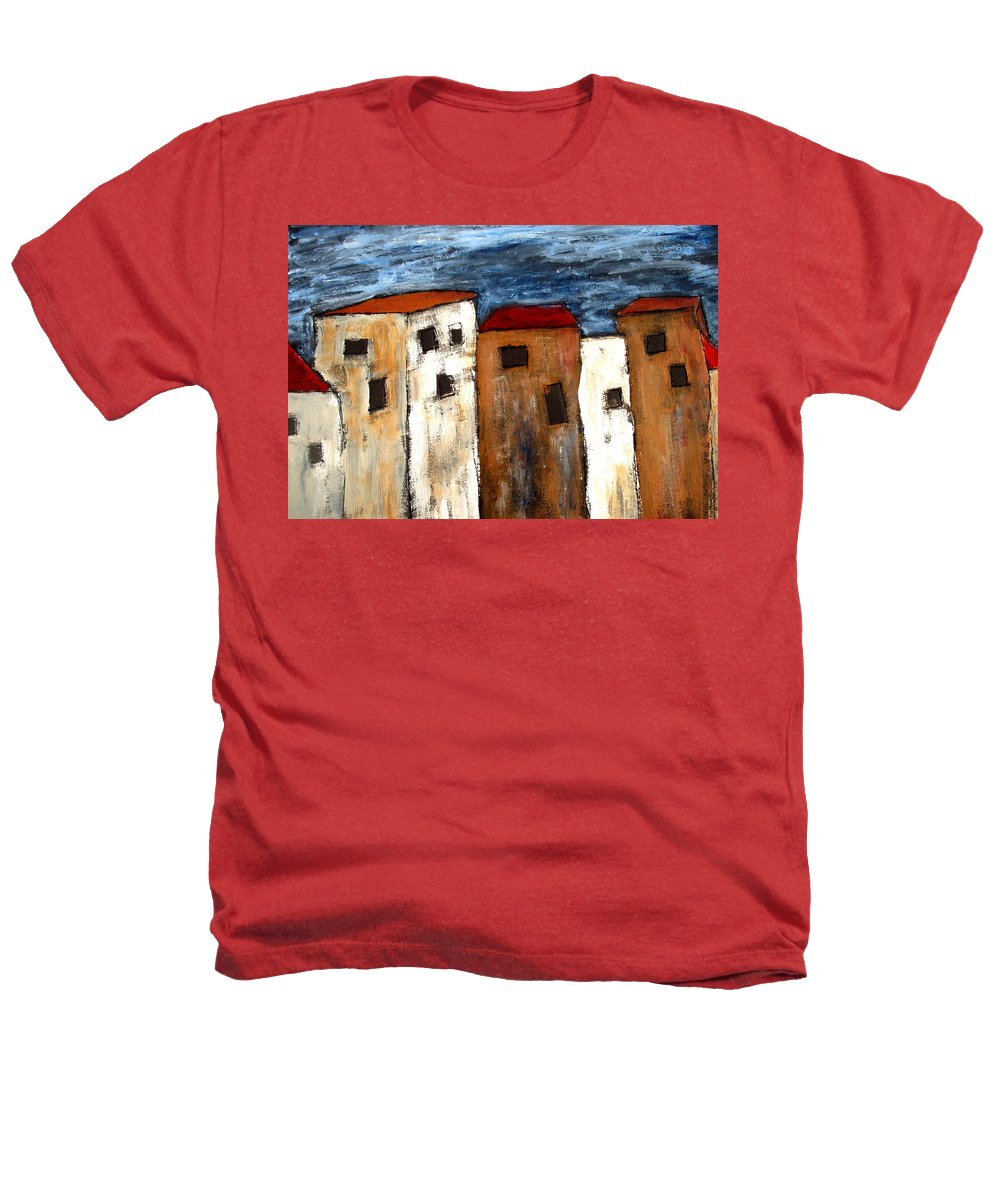 Acrylic Heathers T-Shirt featuring the painting Warehouse Row by Wayne Potrafka
