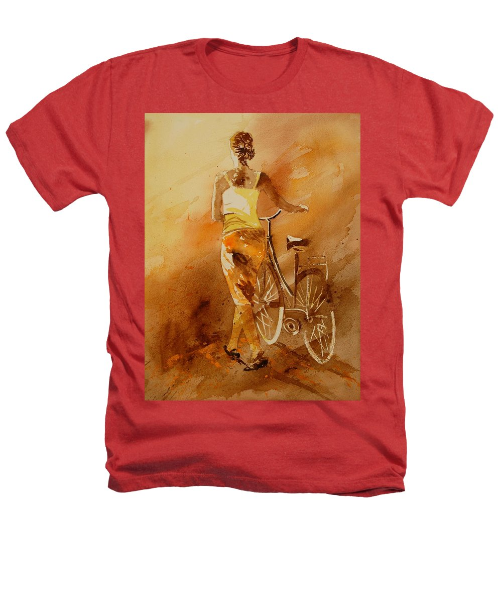 Figurative Heathers T-Shirt featuring the painting Watercolor With My Bike by Pol Ledent