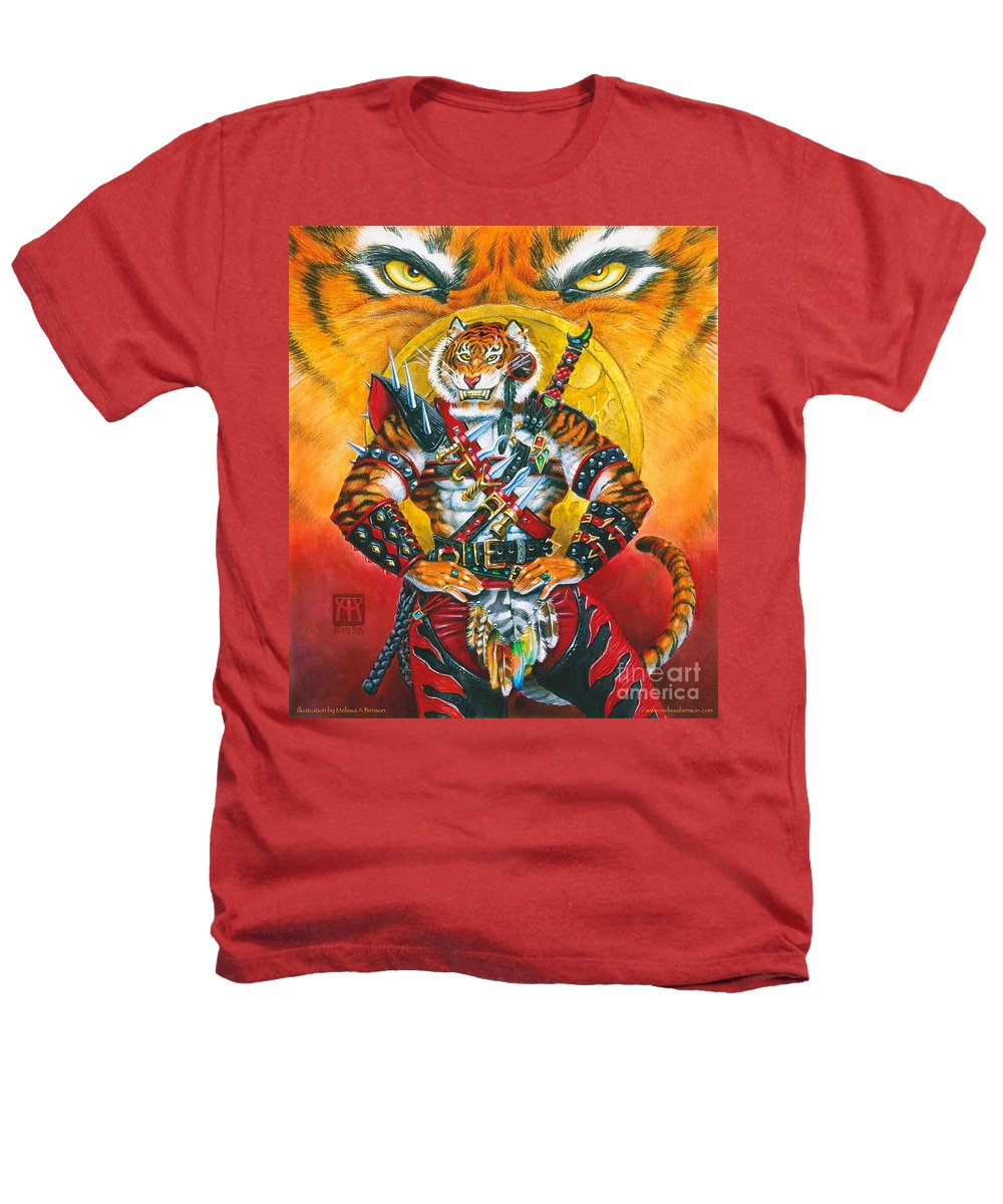 Fantasy Heathers T-Shirt featuring the painting Werecat Warrior by Melissa A Benson