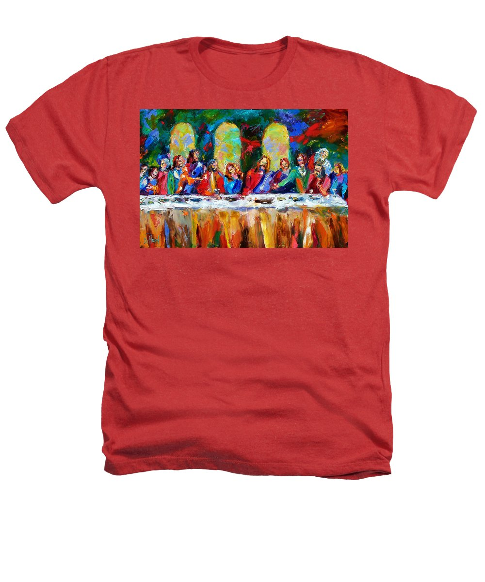 Last Supper Heathers T-Shirt featuring the painting Who Among Us by Debra Hurd