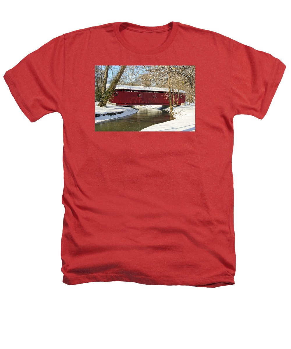 Covered Bridge Heathers T-Shirt featuring the photograph Winter Bridge by Margie Wildblood