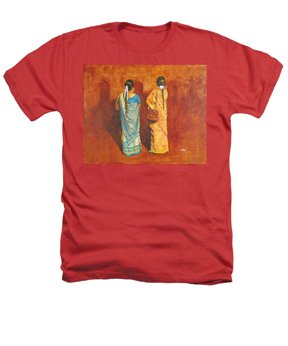 Women Heathers T-Shirt featuring the painting Women In Sarees by Usha Shantharam