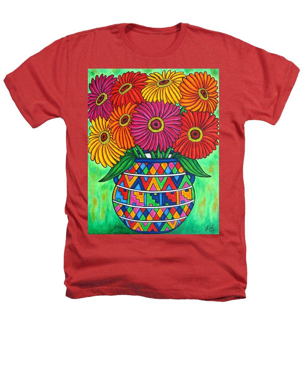 Zinnia Heathers T-Shirt featuring the painting Zinnia Fiesta by Lisa Lorenz