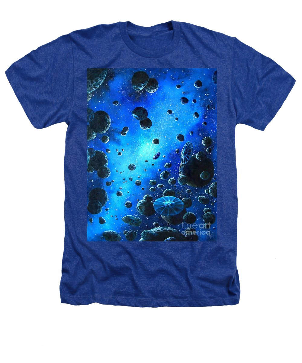 (space Ships) Heathers T-Shirt featuring the painting Alien Flying Saucers by Murphy Elliott