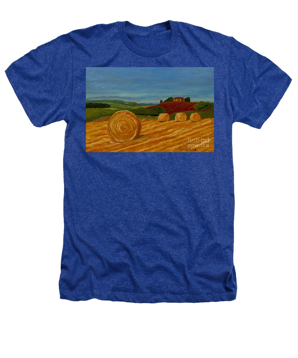 Hay Heathers T-Shirt featuring the painting Field Of Golden Hay by Anthony Dunphy