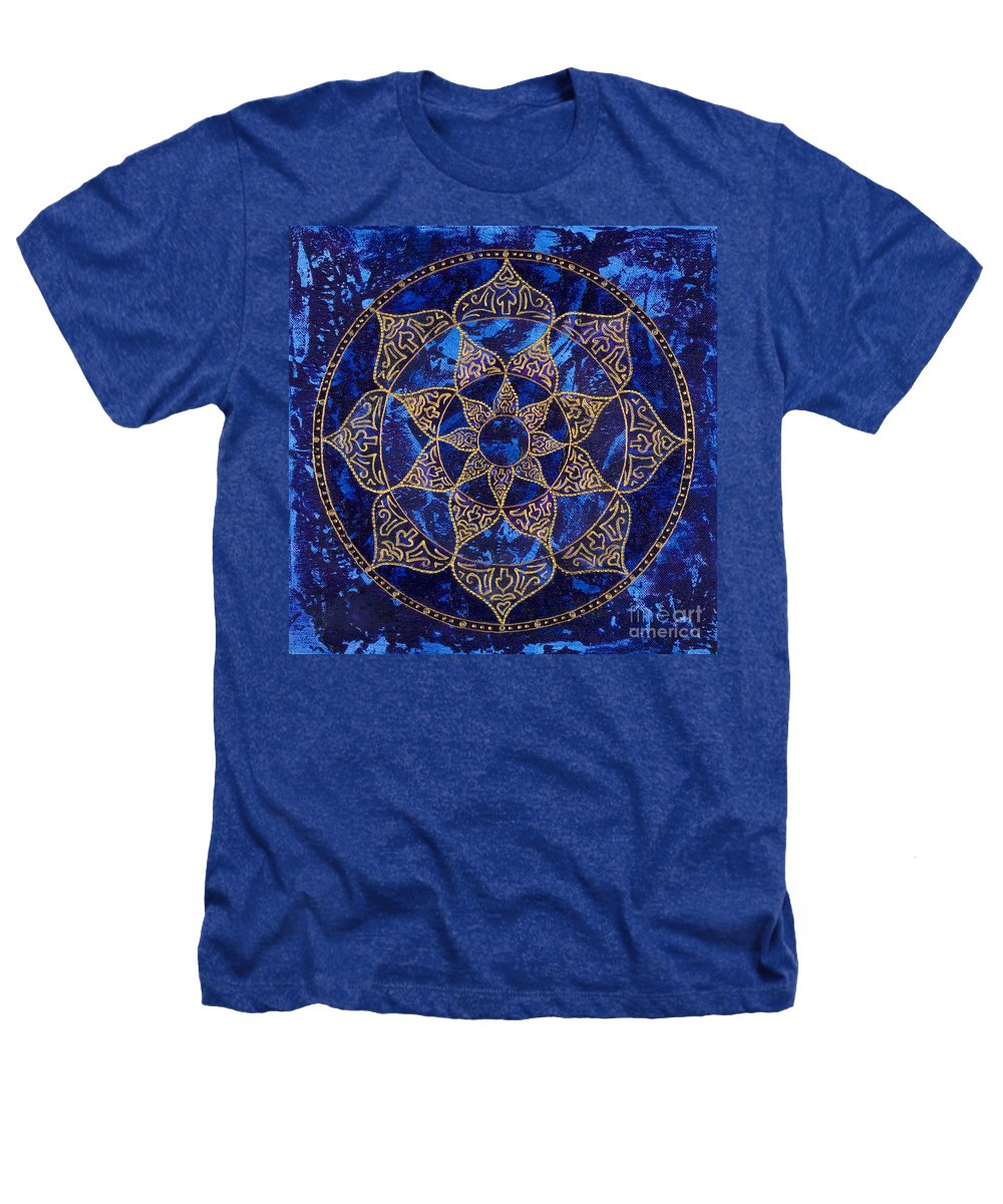 Mandala Heathers T-Shirt featuring the painting Cosmic Blue Lotus by Charlotte Backman