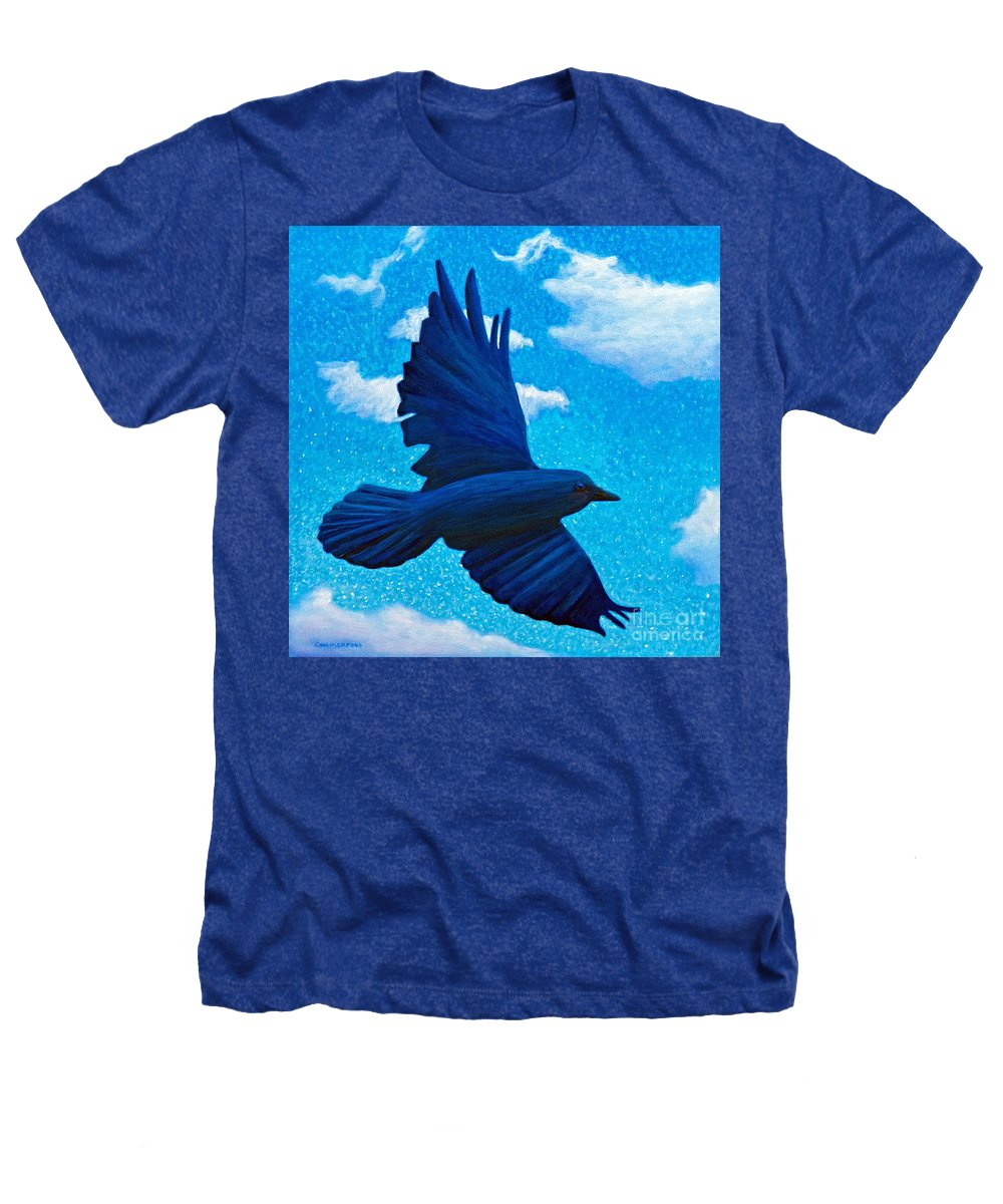Raven Heathers T-Shirt featuring the painting Flight by Brian Commerford