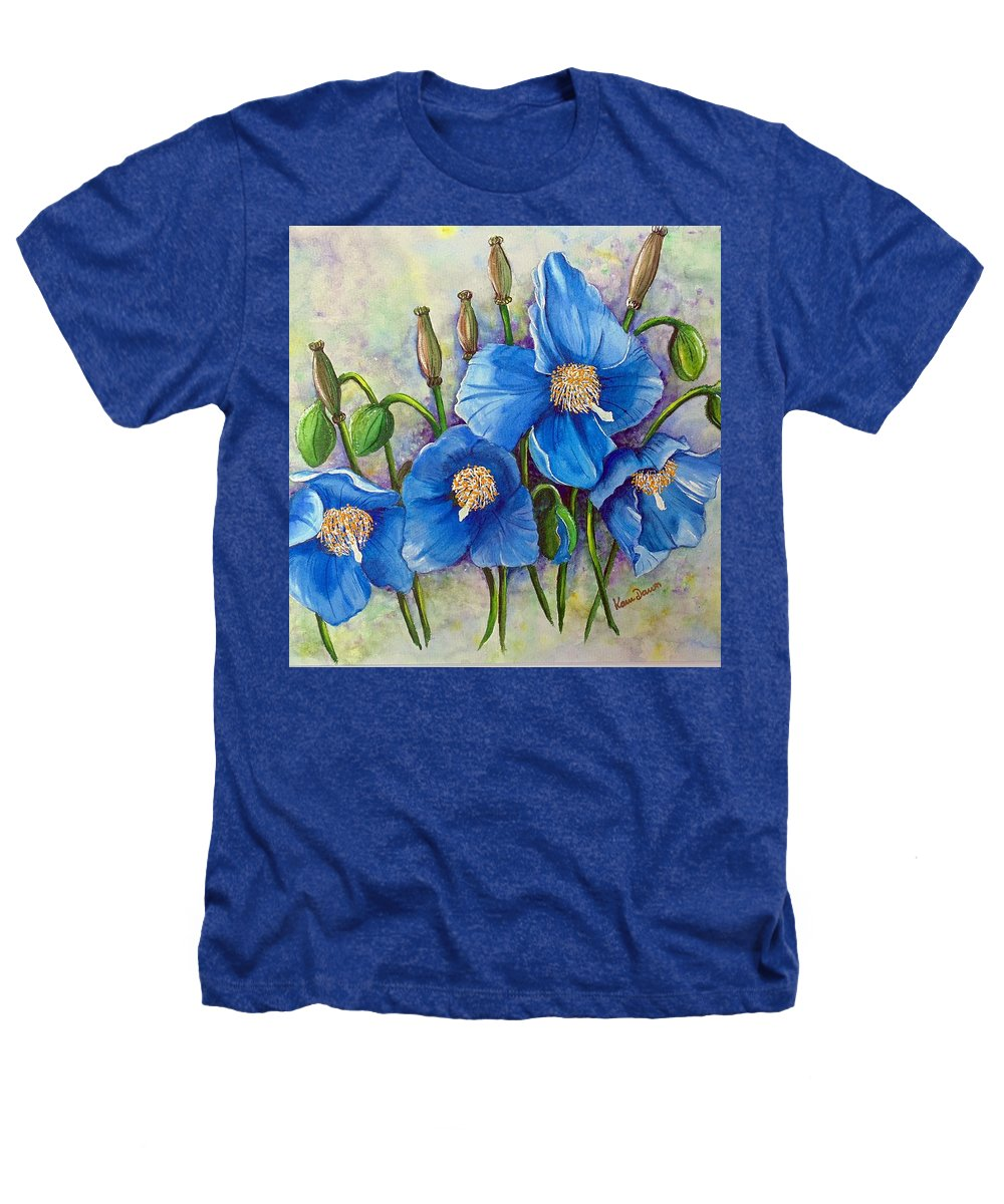 Blue Hymalayan Poppy Heathers T-Shirt featuring the painting Meconopsis  Himalayan Blue Poppy by Karin Dawn Kelshall- Best