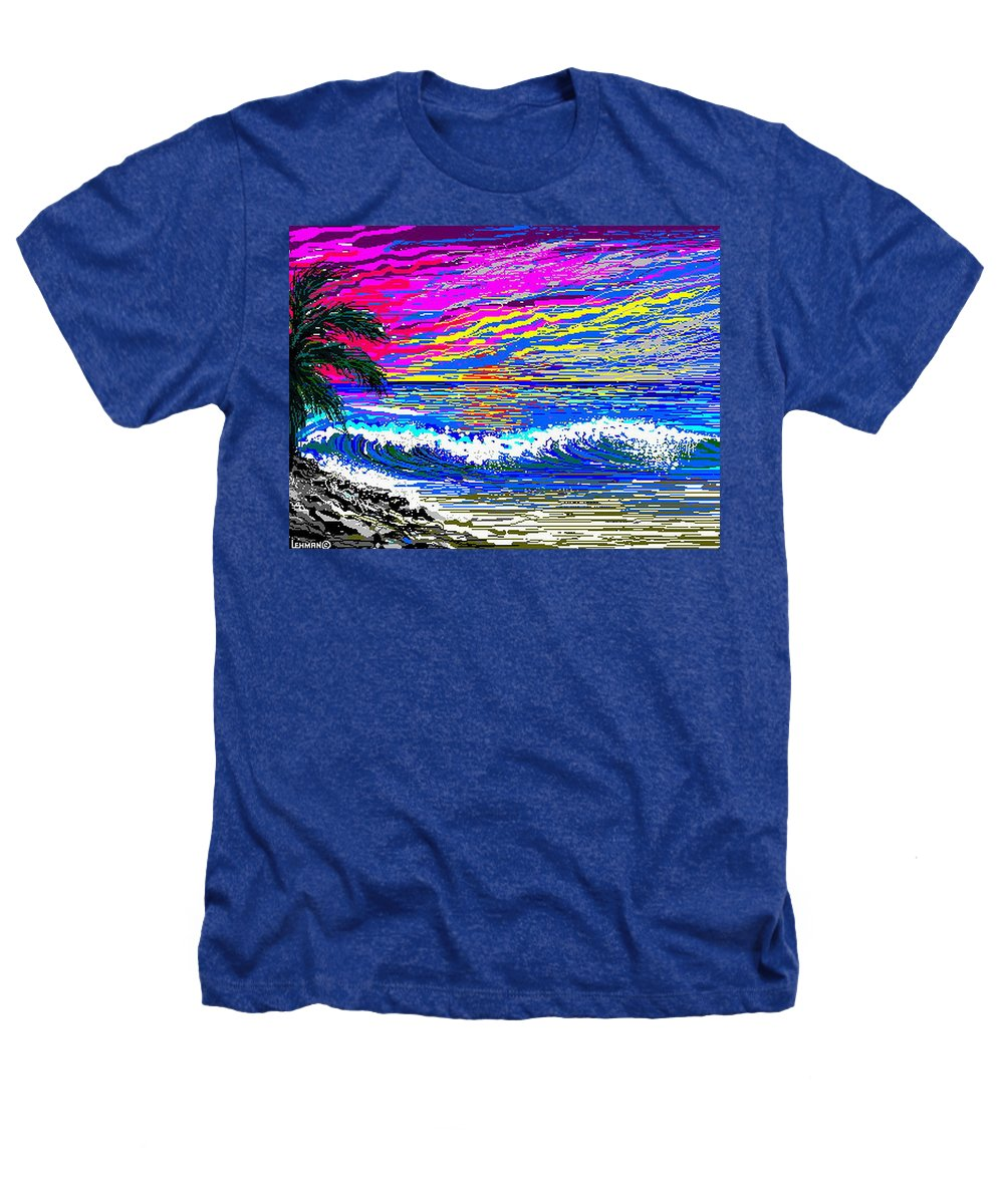 Ocean Sunset Quickly Sketched In One Hour. Heathers T-Shirt featuring the digital art Ocean Sunset by Larry Lehman