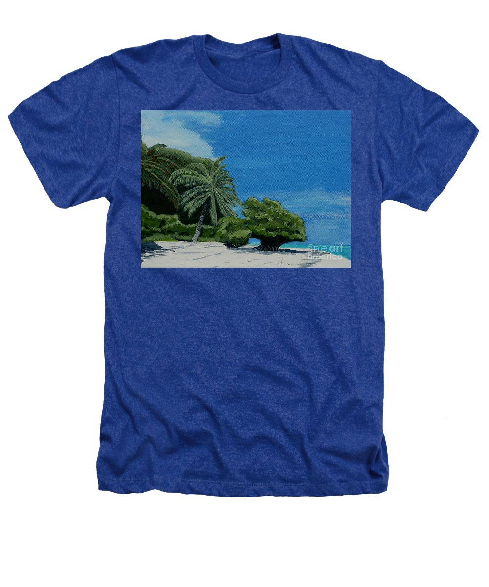 Beach Heathers T-Shirt featuring the painting Tropical Beach by Anthony Dunphy