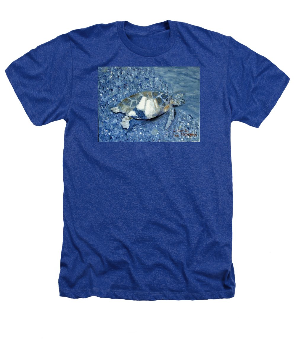 Turtle Heathers T-Shirt featuring the painting Turtle On Black Sand Beach by Laurie Morgan