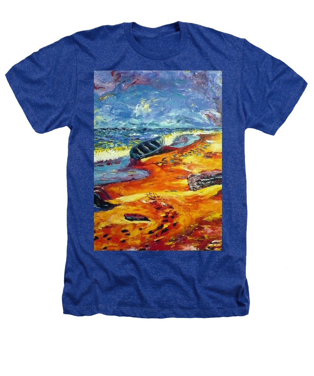 Landscape Heathers T-Shirt featuring the painting A Canoe At The Beach by Ericka Herazo