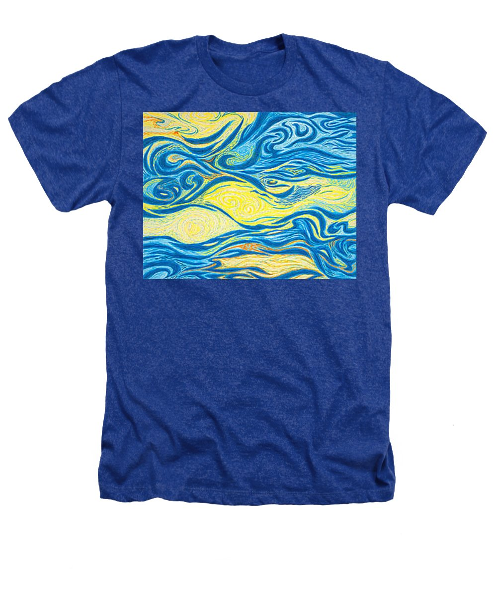 Art Heathers T-Shirt featuring the drawing Abstract Art Good Morning Contemporary Modern Artwork Giclee Fine Art Prints Life Cycle Swirls Water by Baslee Troutman