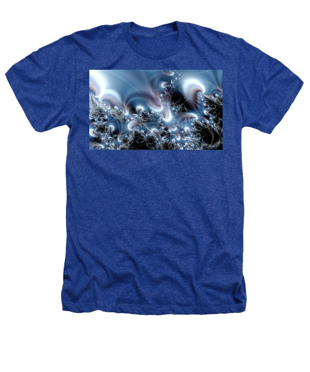 Water Bubbles Blue Nature Flow Heathers T-Shirt featuring the digital art Aquafractal by Veronica Jackson