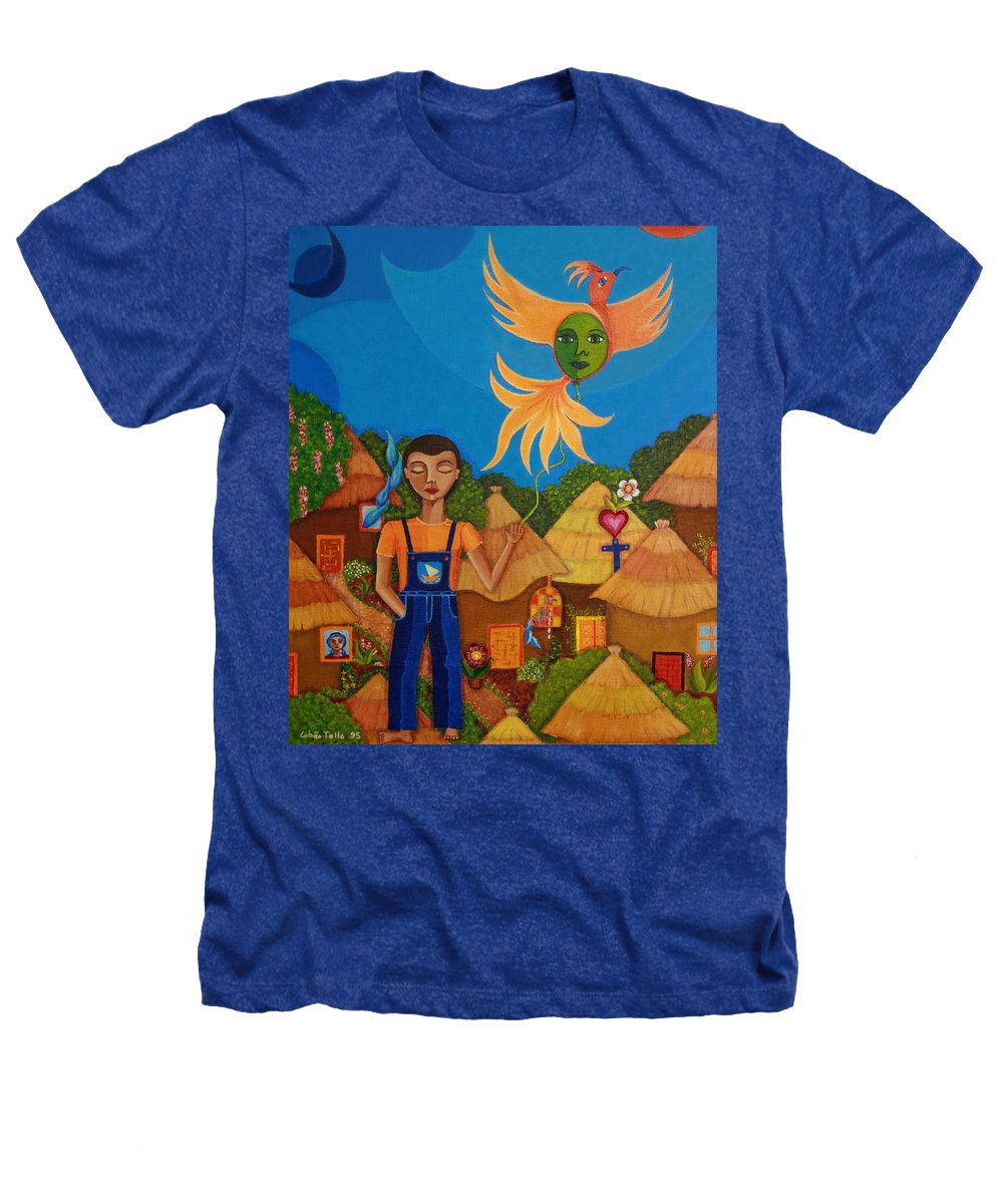 Autism Heathers T-Shirt featuring the painting Autism - A Flight To... by Madalena Lobao-Tello