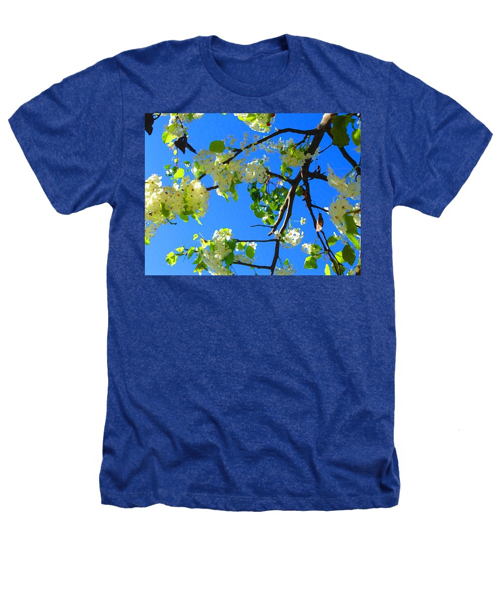 Tree Blossoms Heathers T-Shirt featuring the painting Backlit White Tree Blossoms by Amy Vangsgard