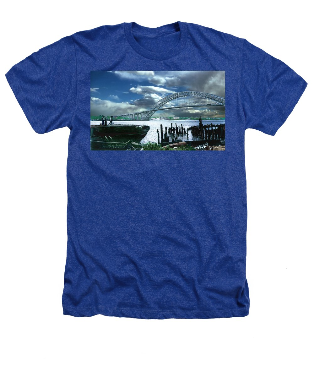 Seascape Heathers T-Shirt featuring the photograph Bayonne Bridge by Steve Karol