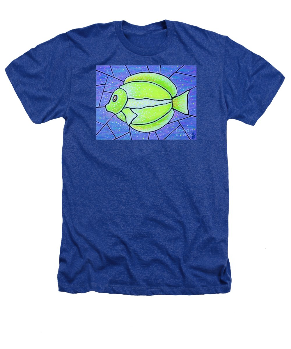 Tropical Fish Heathers T-Shirt featuring the painting Beckys Yellow Tropical Fish by Jim Harris