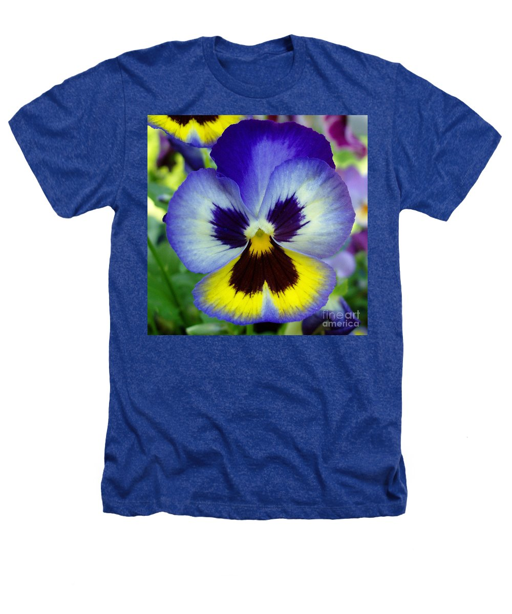 Flowers Heathers T-Shirt featuring the photograph Blue And Yellow Pansy by Nancy Mueller